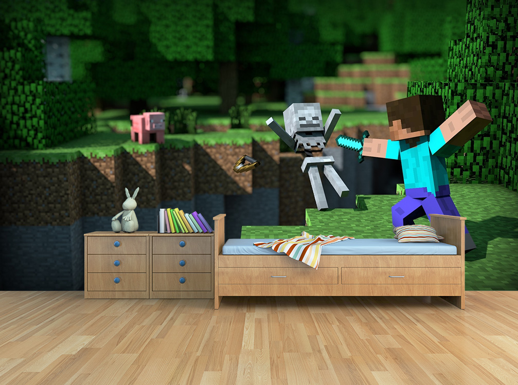Kinderkamer Behang Minecraft Action - ToyFloor.nl