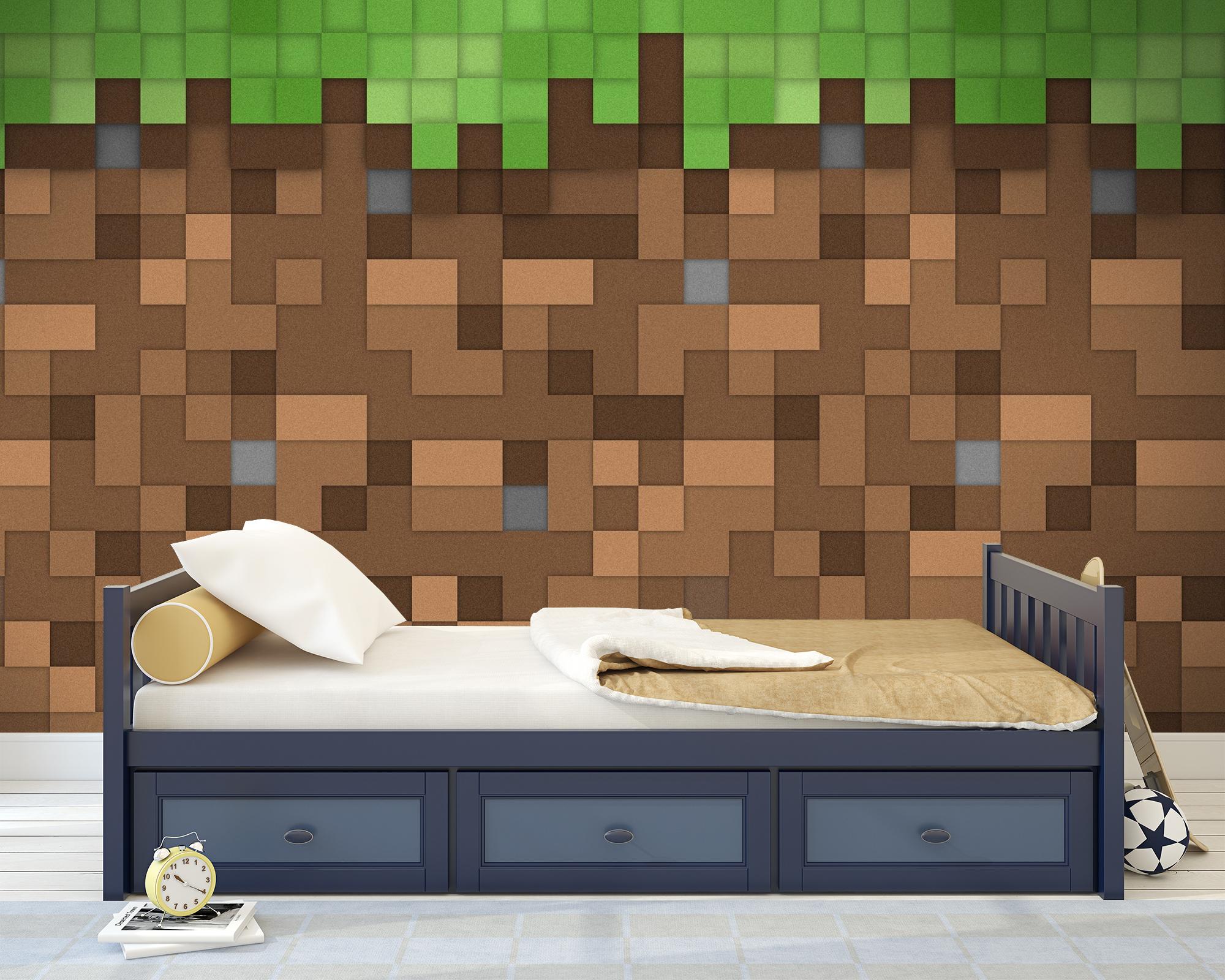 Kinderkamer behang minecraft aarde 2 for Behang kinderkamer